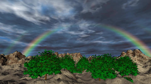 Landscape with rainbow and clouds timelapse 3D animation Animation