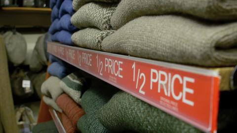 sale on a clothes shop Footage