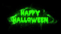 Burning Particle Happy Halloween Text Reveal - Green CG動画