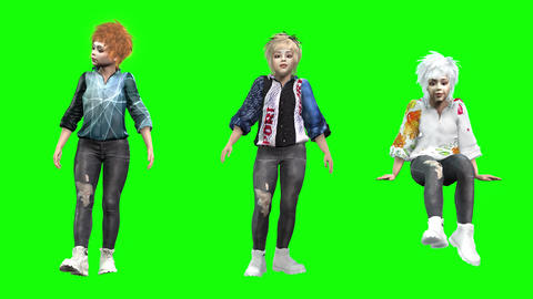 932 HD DIVERSITY 3D animated three young girls in different motions Animation