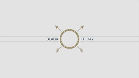 Animation intro text Black Friday on hipster and minimalism background with arrow Animation
