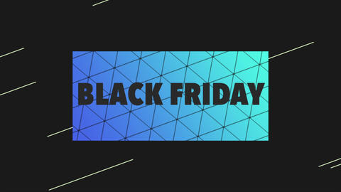Animation intro text Black Friday on black and blue fashion and minimalism background CG動画