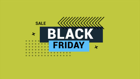 Animation intro text Black Friday on green fashion and minimalism background with geometric shape Animation