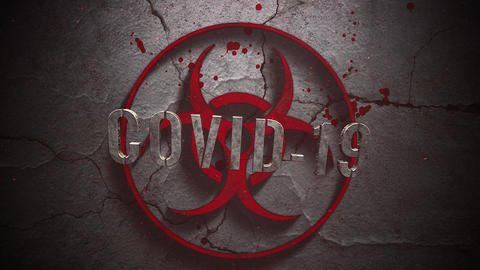 Animated closeup text Covid-19 and mystical horror background with toxic sign and dark blood CG動画