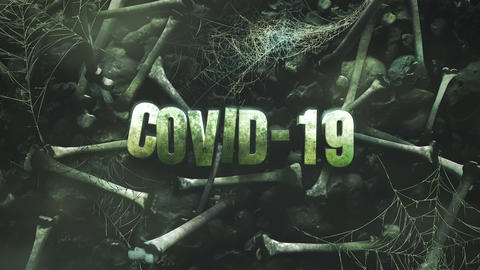 Animated closeup text Covid-19 and mystical horror background with dark bones CG動画