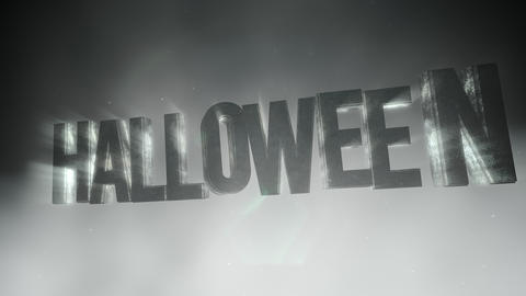 Animation text Halloween on mystical horror background with dark smoke and motion camera CG動画