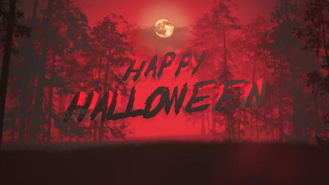 Animation text Happy Halloween and mystical background with dark forest and fog CG動画