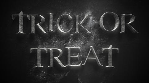 Animation text Trick or Treat on mystical horror background with dark skull CG動画