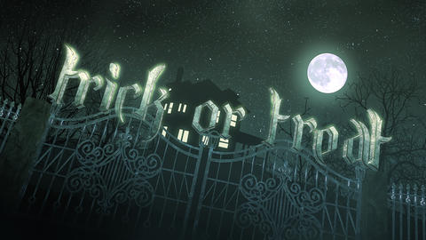 Animation text Trick or Treat and mystical horror background with the house and moon CG動画