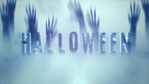 Animation text Halloween on mystical horror background with hands behind the glass CG動画