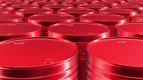 Looping 60 fps 3D animation of the red oil barrels in UHD Animation