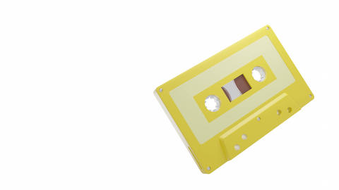 Yellow cassette tape isolated on a white text space Animation