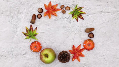 Autumn leaves and autumn yields blinking in circle. Stop motion CG動画
