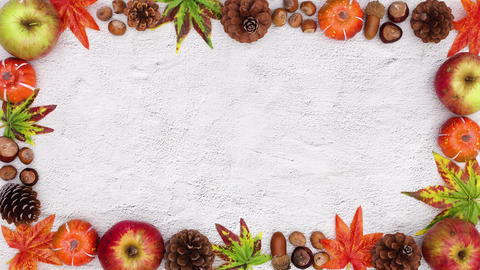 Autumn frame appear with space for text. Stop motion CG動画