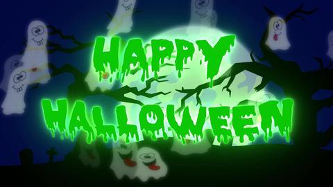 Happy Halloween Ghosts - 05 sec - Green Animation