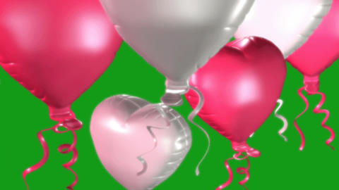 Flying heart balloons motion graphics with green screen background CG動画