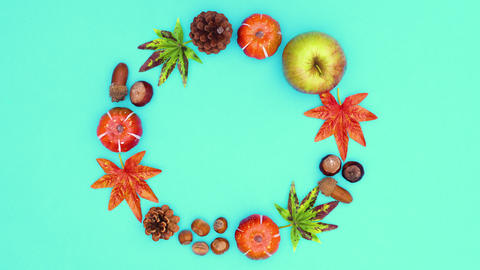 Autumn circle frame for text move on green theme. Stop motion CG動画