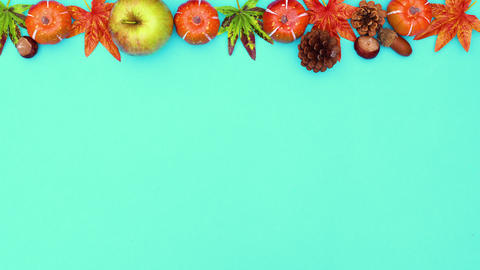 Autumn leaves and yields appear on the top of green theme. Stop motion CG動画