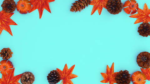 Autumn leaves, pine cones and nuts appear and make frame. Stop motion CG動画