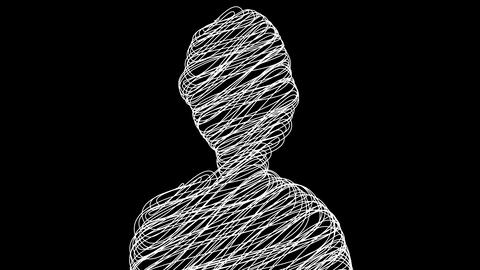 Computer generated simple silhouette of man with scribble fill. 3d rendering web Animation