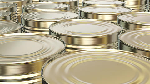 UHD looping 3D animation of the yellow brass food cans Animation