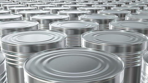UHD looping 3D animation of the brass food cans Animation