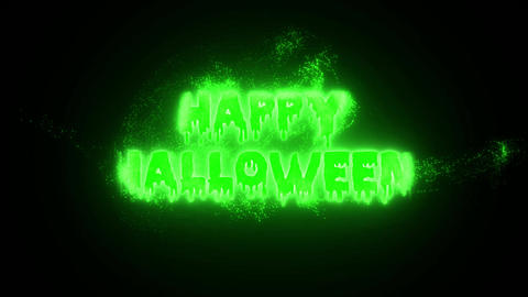 Burning Particle Happy Halloween - Green Animation
