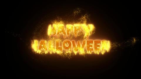 Burning Particle Happy Halloween - Orange Animation
