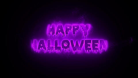 Burning Particle Happy Halloween - Purple Animation