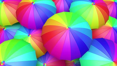Colorful umbrellas seamless looping 60 fps UHD 3D animation CG動画