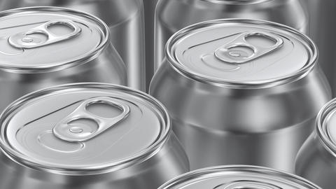 UHD looping 3D animation of the blank aluminum soda cans Animation