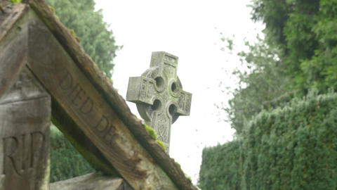 change of focus: footage of a countryside cemetery tomb Footage