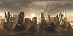 Armageddon Dystopia Ciy VR360 3D Illustration Fotografía de realidad virtual (RV) en 360°