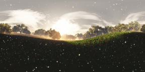 Wonderland Meadow with Fireflies VR360 3D Illustration VR 360° Photo
