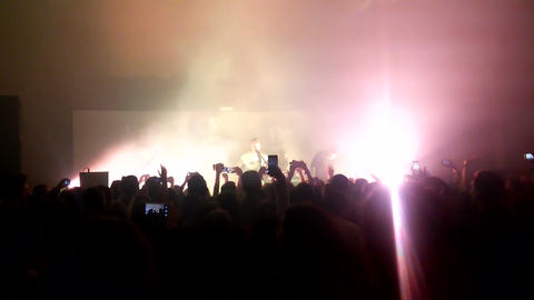 Footage of a crowd partying at a rock concert Footage
