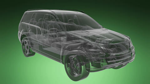 car rotate. visible engine and gear transmission Animation