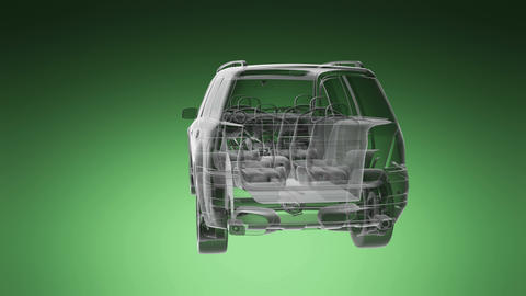loop car rotate. visible engine and gear transmission Animation