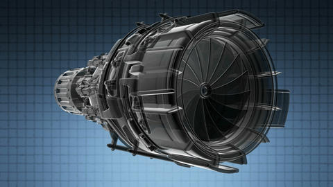 rotate jet engine turbine of plane, aircraft concept, aviation and aerospace ind Animation