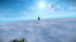 Military helicopter flying over clouds Animation