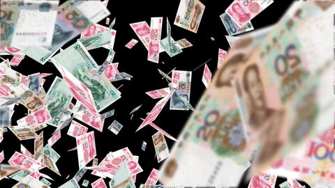 Flying Money Chinese Yuan 1 ,Alpha channel Animation