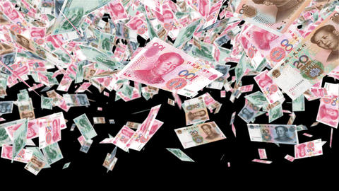 Transition Flying Money Chinese Yuan 2 CG動画素材