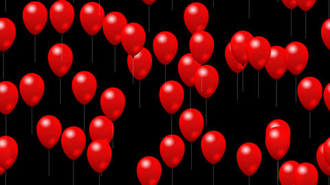 Party red balloons generated seamless loop video with alpha matte Animation
