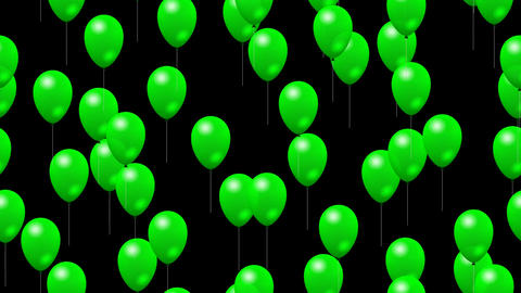 Party green balloons generated seamless loop video with alpha matte Animation