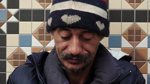 homeless smoking Footage