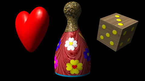 Valentine heart, Ludo piece and dice seamless loop video with alpha matte Animation