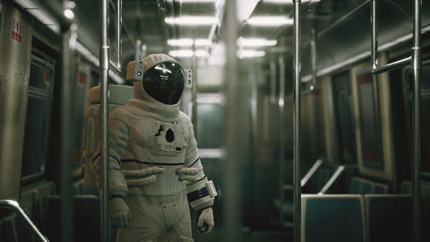 Astronaut Inside of the old non-modernized subway car in USA Live Action