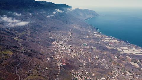 Aerial view of Frontera and El Golfo bay in el Hierro island, Canary islands Live Action