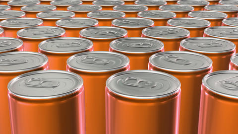 Looping 60 fps 3D animation of the orange aluminum soda cans in UHD CG動画