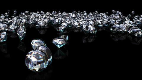 UHD 3D animated slow motion of the shining diamonds falling onto reflecting black surface CG動画