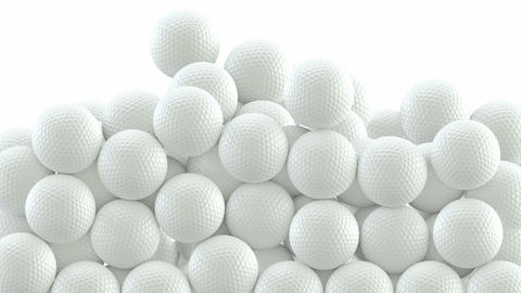 Golf balls are falling down and filling the screen UHD 3D animation with alpha mask CG動画